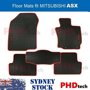 MITSUBISHI ASX 2010-2021 Tailored All Weather Rubber Car Floor Mats Red Trim