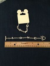 BRAND NEW AUTHENTIC DISNEY PARKS LOVE CHARM BRACELET SILVER PLATED 7 INCH TOGGLE