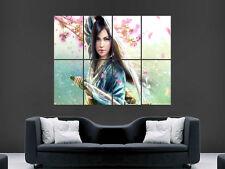 WOMEN BEAUTIFUL SAMURAI SWORD  HAT LARGE  WALL PICTURE POSTER GIANT HUGE ART