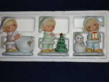 Set of 3 ceramic Homco Children Christmas Figurines w/puppy Tree Snowman