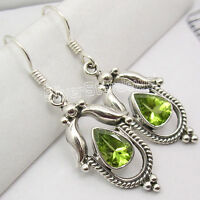 RETRO STYLE !! 925 Sterling Silver Fabulous PERIDOT FRENCH HOOK Earrings 4.1 CM