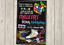 80s Retro Invitation Birthday 80's Party Invite ANY Age 1980's 1980s Era
