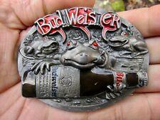 Vtg BUDWEISER Belt Buckle 1998 Frogs BUD Toads BEER Bottle C&J Pewter RARE VG+