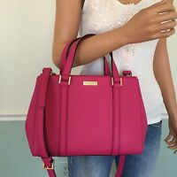 NEW! KATE SPADE Pink Saffiano Leather Small Carryall Tote Crossbody Bag Purse