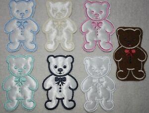 Satin Standing Teddy Bear Motifs Appliques - Quantity 1