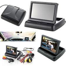 "4.3"" Foldable TFT LCD Monitor+ Reverse Car Rear View Backup Camera Cam Kit 12V"