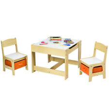 3-in-1 Wood Kid Activity Table Toddler Table Chair Set w/ Blackboard Drawer