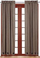 """84"""" L Lined Window Curtains Navy Blue Star Patches Dark Tan Check Country Home"""