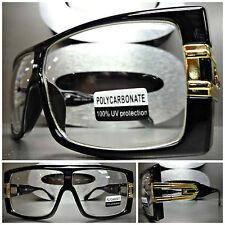 Men Women OVERSIZE VINTAGE RETRO Clear Lens EYE GLASSES Black Gold Fashion Frame