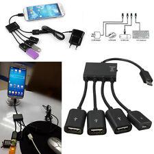 4 PORTE MICRO USB OTG HOST HUB CAVO RICARICA ADATTATORE PER ANDROID SMARTPHONE