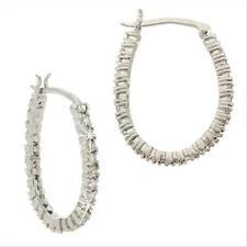 925 Sterling Silver CZ Oval Hoop Earrings