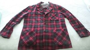 Vintage PENDLETON PLAID Wool Shirt, Size Large, Wood Buttons, Red, Green, White