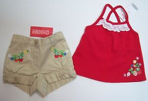NWT Gymboree Strawberry Farm 3-6 Months Eyelet Top Embroidered Khaki Tab Shorts