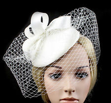 IVORY SATIN FASCINATOR WITH LOOPS & VINTAGE VEILING FOR WEDDING, SPRING RACES