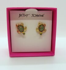 Betsey Johnson Gold Tone Sea Green Pave Crystal Turtle Stud Earrings