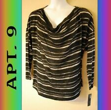 WOMEN'S PLUS SIZE 2X 18W 20W DROOPING BLACK TOP SWEATER - CLOTHING NEW