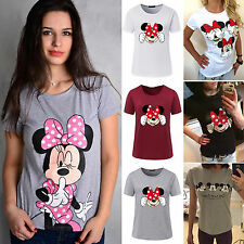 Summer Womens Mickey Minnie Mouse Short Sleeve T-Shirts Loose Casual Cotton Tops