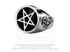 Romantic Alchemy Gothic 1977 Roseus Pentagram Ring  Size 9 3/4