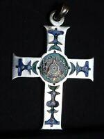 medaille religieuse Vintage croix émail Enamel Cross 4,7 x 3.3 cm  MR 0609