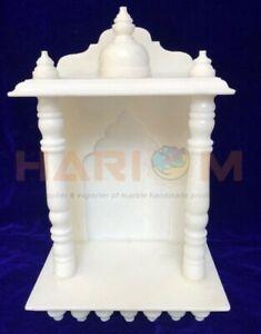 """13 """" x9 """" Blanc Marbre Fait Religieux Spirituel Temple Pujaghar Pour Maison T032"""