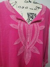 Talbots Woman Petite Pink Tandoor Embroidered Tunic Top 3/4 Sleeve Plus Sz 3XP