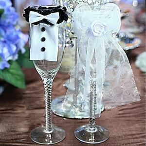 Creative BRIDE & GROOM Party Wedding Wine Glasses Lace Toasting Cover Decor ST