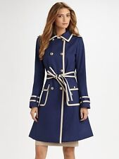 ST. JOHN COLLECTION BLUE & CREAM BELTED TRENCH COAT SIZE US 12 NWT $1495