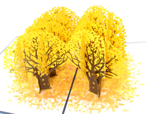 New Greeting Card 3D PopUp Ginkgo forest Love Anniversary Valentines birthday 6