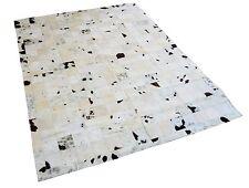 Patchwork Teppich aus schwarz-beige-weißem Kuhfell Cowhide - 200cm x 150cm