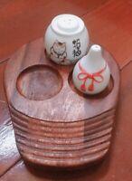 Teak Wooden Dish Platter 3 Section Snack Candy Serving Tray Pepper Salts Saucer