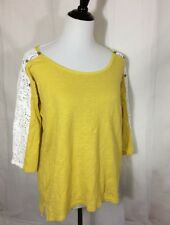 Anthropologie Little Yellow Button Lace Crochet Sleeve Pullover T Shirt Top Soft