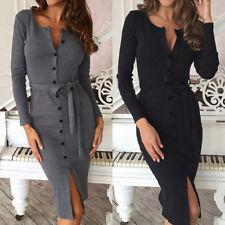 UK Stock Womens Buttons V Neck Slim Lace Up Belted Tunic Shirt Dress Kaftan Plus
