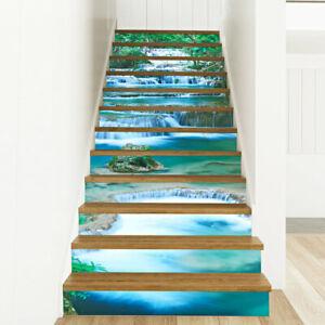 12x Stufenverkleidung Treppen Wandaufkleber 3D Folie 98x17cm, Bergsee Aufkleber