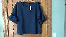 J CREW 100% COTTON NAVY BLUE SIZE L BELL SLEEVES SPRING SUMMER TOP  NWT