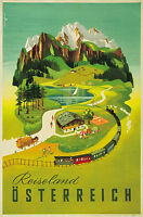 Reiseland Alps  Vintage Illustrated Travel Poster Print on canvas