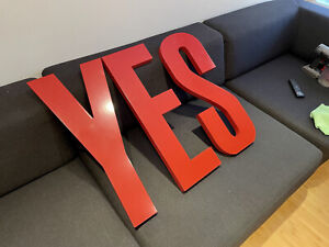 CB2 Modern Red YES graphic wall art sign letters Crate & Barrel West Eml