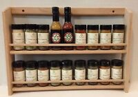"""Solid OAK Wooden Spice Rack / 14 1/4""""H x 19.75""""W / Wall or Counter Spice Rack"""