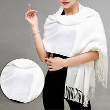 Women Warm Cashmere Cotton Solid Long Pashmina Shawl Wrap Scarf Tassel Stole