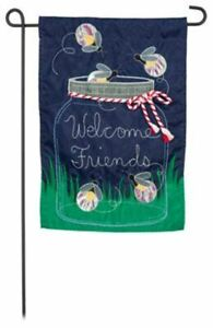 "Firefly Welcome 168646BL Evergreen Applique Garden Flag 12.5"" x 18"""