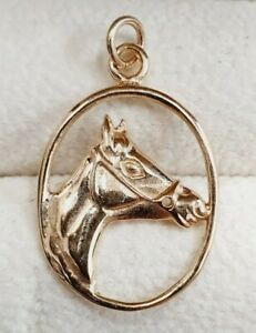 9ct Gold Horse Head Pendant Solid 9ct Gold
