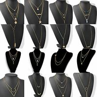 Fashion Lady Chic Geometry Charms Crystal Diamante 3 Layers Gold Chain Necklace