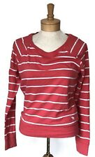 Abercrombie Fitch Womens Top Size Small Pink Striped Cotton Blend Long Sleeves