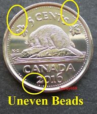 ◆ 2016 5 cents ERROR Uneven Beads - Brillant Unc ◆ From Mint Roll