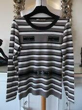 MARC CAIN Cream Brown Taupe Black Striped Sweater Top with Belt Print N4 14