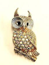 Beautiful Owl Brooch Gold Tone