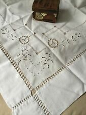 Vtg Antique Edwardian Hand Embroidery White Work 28X48� Tablecloth Panel Runner