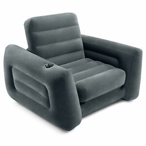 Intex Inflatable Pull Out Sofa Chair with Twin Sized Air Bed Mattress (Open Box)