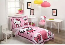 Hello Kitty Pink 4-Piece Toddler Comforter Set Girls Bedding Sheet Pillow Case