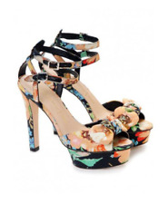Loeffler Randall x Tucker Floral Open Toe Platform Stiletto Heels Pumps Sandals