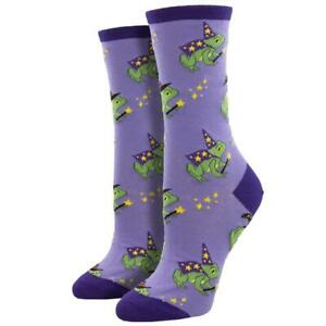 Socksmith Women's Crew Socks Freaky Frog Wizards Purple Halloween Fun Footwear